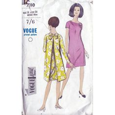 60s Vogue special design evening dress sewing pattern 7110, Bust 34 inches, One-piece dress pattern, bow back detail