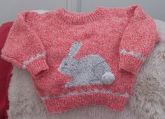 The bunnies are taking over, a happy little bunny, size 24 inch / 61cm chest looking for a new home. £14.99 + £4.25 signed delivery and he is yours. Acrylic, slightly brushed finish. handwash due to pom pom tail.