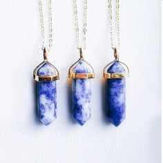 """Beryl Alabaster On Gold  ☾ Blue Spot Stone ☾ 18"""" Gold Chain ☾ Handmade in Chicago Blue Spot: enhances communication and relieves stress."""