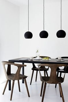 three pendants above the dining table