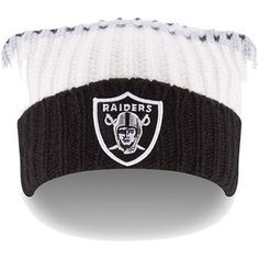 75abdb6e3 Oakland Raiders New Era Women s Wintry Banded Slouch Cuffed Knit Hat with  Pom - White