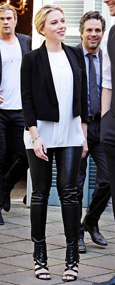 Scarlett Johansson for a photo call for The Avengers in Rome.    White shirt + black leather pants + black blazer