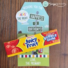 "2017 LDS Primary Birthday and Gift Ideas - Choose the right, ""Chews"" the right - Pack of gum with gift tag!"