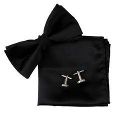 BT2010 Black Plain Silk Pre-tied Bowtie Cufflinks Hanky Birthday Presents Fantastic Store Gift For Men By Epoint