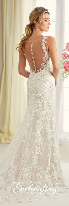 Enchanting by Mon Cheri Fall 2017 Collection - Style 217120 - sleeveless lace over satin fit and flare wedding dress with illusion back