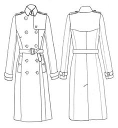 trench Clothing Templates, Clothing Sketches, Fashion Drawing Dresses, Fashion Illustration Dresses, Dress Design Sketches, Fashion Design Sketches, Trench Coat Outfit, Coat Patterns, Fashion Line