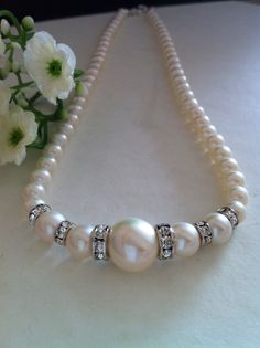 Cream White Genuine Freshwater Pearls necklace with Rhinestones Spacers and sterling silver Toggle Clasp, Bridal necklace, Gift