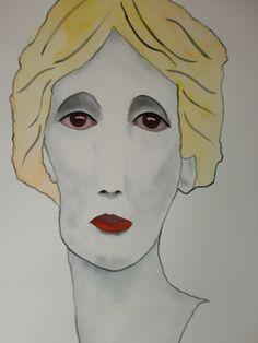 Portrait Virginia, 50x70cm aquarel/watercolor