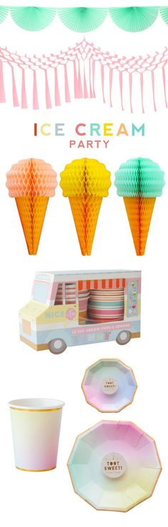 Ombre Ice Cream Party Supplies