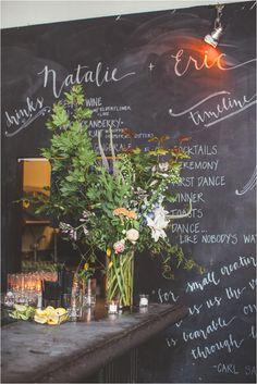chalkboard bar setup - photo by Hazelwood Photo http://ruffledblog.com/music-themed-portland-wedding