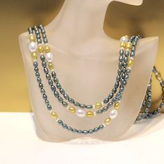 Lange Zuchtperlenkette grün-gold 152 cm echte Perlenkette Silber 2016