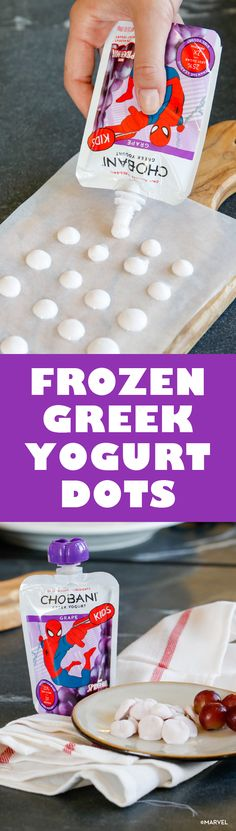 Face it, sometimes there's nothing more refreshing and tasty than a frozen treat. Avoid the sugar high and serve up these simple, quick Frozen Chobani Greek Yogurt Dots! A bite sized healthy treat for your little ones, Chobani pouches boast lower sugar, 2x the protein, and deliciousness. Win, win, win.