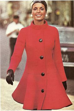 Pierre Cardin Red Coat Dress 1970