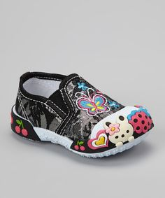 Take a look at this Papos Black Butterfly Slip-On Shoe on zulily today!