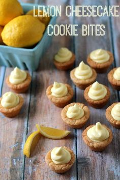 Lemon Cheesecake Cookie Bites.  Sugar cookie cups filled with no bake lemon cheesecake filling.  These are always a hit!