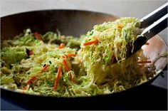 Spicy Stir-Fried Cabbage: View this and hundreds of other vegetarian recipes in the New York Times Eat Well Recipe Finder. Stir Fried Cabbage Recipes, Cabbage Stir Fry, Stir Fry Recipes, Cooking Recipes, Vegetable Dishes, Vegetable Recipes, Vegetarian Recipes, Healthy Recipes, Delicious Recipes