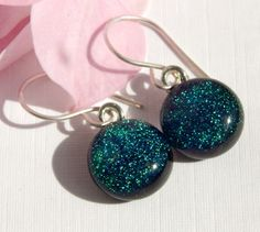 Teal Glass Drop Earrings - Dichroic Glass Dangle Earrings on 925 Sterling Silver Earwires - Green/Blue Fused Glass Jewelry by TremoughGlass on Etsy