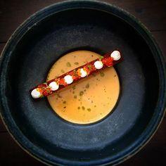 Shellfish bisque • Rye bread crouton • Salmon roe • Cremé fraiche • Herb oil
