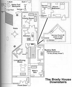 My dream home growing up, The Brady Bunch house floorplans. Looking at it from this angle, it doesn't match the house exterior at all!