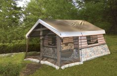 NEW 8 Person Log Cabin Camping Tent Huge Outdoor Family Camp Lodge 7 ft. Height! #Igloo #LodgeTent