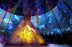 """This art shows the 1846 """"Spirit of the First Nations"""" exhibit for the proposal for Fort Edmonton Park. This exhibit will focus on the importance of the aboriginal culture in the region and use """"interactive storytelling."""""""