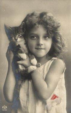 Kitty and Friend!  1900s postcard