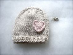 Natural baby hat Cashmere 100% with heart Newborn hat by nerina52
