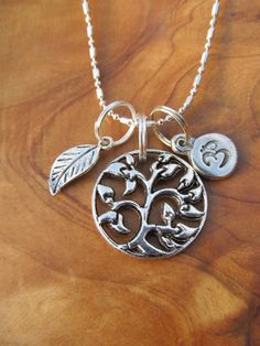 Tree of Life Om and Leaf Charm Necklace Yoga by DestinyAccessory, $18.00