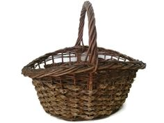 Vintage gathering basket large American wicker by SelectiveSalvage
