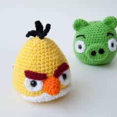 Crocheted angry birds