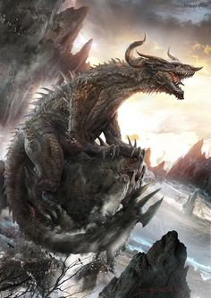 Giant dragon monster on high mountain.