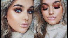 GRWM: My Go-To Fall Makeup! Burnt orange, rounded, matte eyes are definitely one of my favourite easy/go-to looks and around this time of year these colours . Face Beauty Makeup, Love Makeup, Beauty Skin, Makeup Tips, Hair Makeup, Hair Beauty, Makeup Tutorials, First Date Makeup, Rachel Leary