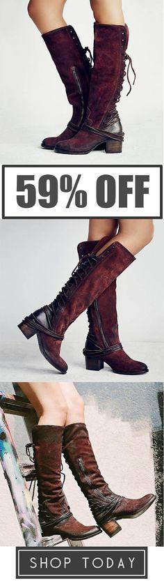 62fbb129ef83 Judedress Women Vintage Lace Up European Style Bandage Above Knee Boots