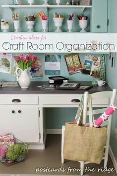 Organize your craft room with creative containers like milk glass vases. Lots of other great organizing ideas in this post. Craft Room Storage, Storage Ideas, Creative Crafts, Organization Ideas, Craft, Organizing Ideas, Storage