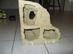 back view of a non-toxic kids clay air dry gerbil toy cave/hide.  Such a fun project!