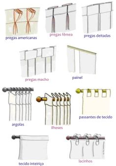 The words for curtain types in Spanish. Handy