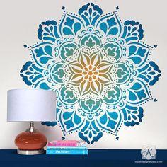 Large Mandala Wall Art Stencils for Painting Boho Bedroom Mural Design – Royal Design Studio Stencils Mandalas Painting, Mandalas Drawing, Stencil Wall Art, Stencil Painting, Stenciling, Wall Painting Design, Wolf Painting, Stencils Mandala, Art Nouveau