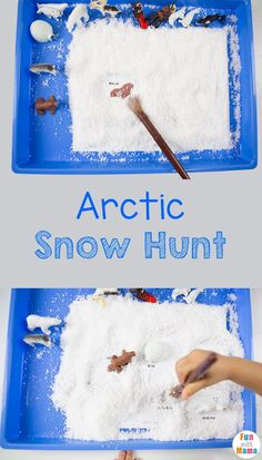 Printable Safari Ltd Toob toys fun snow hunt activity for kids. Your child will explore arctic animals with a sensory bin and work on fine motor skills. via @funwithmama