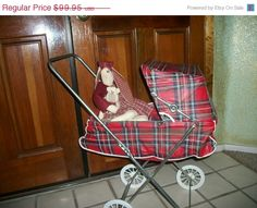 1950s Doll Stroller Easy Fold Carriage Made by Welsh Co., St. Louis, Missouri