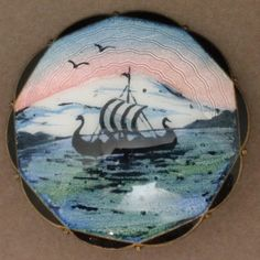 Norway Picture Pin Vintage Sterling Silver Enamel O.F. Hjortdahl