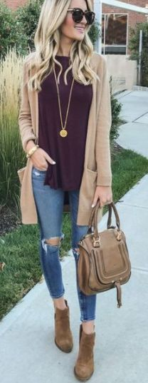 dressed up outfit with jeans.