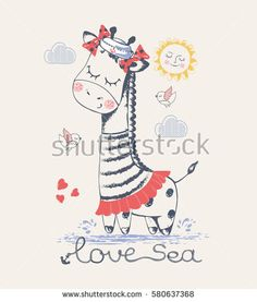 Sailor Jiraffe/ hand drawn vector illustration/ can be used for kid's or baby's shirt design/ fashion print design/ fashion graphic/ t-shirt/ kids wear