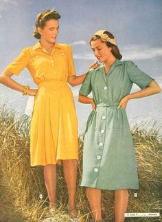 Forties' tea dresses #forties #worldwartwo #history #fashion #wwii #homefront #londonblitz