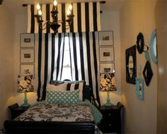 black-turquoise-bedroom-stripes