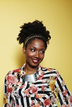 3 DIY 'Dos For Naturally Textured Tresses #refinery29  http://www.refinery29.com/47289#slide19  Once all hair is tucked and pinned into the puff, accessorize it! Williams says you can wrap twine or ribbon around it, pin in some flowers, or add a cute accessory, like we did here with these Goody Double Wear Chain Link headbands.