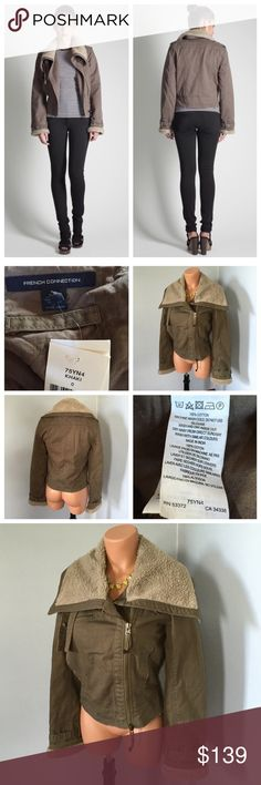 Army Twill Jacket Khaki Olive Green Cropped Army Twill Flying Jacket  Size 0  Style code: 75YN4 100% Cotton  Approx Measurements: Bust - 35in Armpit to cuff - 19in Armpit to bottom - 10.5  French Connection twill flying jacket will keep you snug and stylish this winter. Wear with jeans and motorcycle boots for street smarts.  Army Twill Flying Jacket has a zip fastening at front, oversized sheepskin collar with tab fastenings, long sleeves with tab detail and sheepskin cuffs, panel detail…