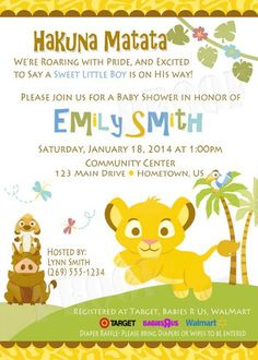 Lion king simba baby shower invitations safari animals jungle personalized photo invitations cmartistry personalized baby lion king shower invitations diy printable filmwisefo Gallery