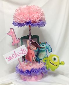 Monsters Inc Centerpiece Birthday Centerpiece by BasketsFromAtoZ Monster Inc Party, Monster Birthday Parties, 2nd Birthday Parties, Birthday Tutu, Animal Birthday, 1st Birthdays, Happy Birthday, Monsters Inc Centerpieces, Monsters Inc Baby