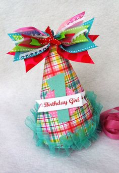 Preppy Plaid and Polka Dot birthday party hat by LittlePinkTractor, $13.50