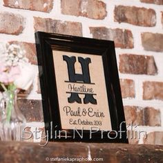 Family Name Last Embroidered Monogram Wedding Marriage Date Elished Est Split Initial Frame 8x10 Burlap Canvas Gift On Etsy 25 00